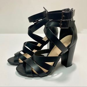 Shoedazzle Black Strappy Chunky Heels, size 7.5